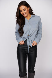 Know Who I Am Button Up Tunic Top (Denim)