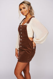 Dancing Down The Streets Corduroy Dress (Brown)