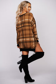 Lucky Together Plaid Pullover Sweater (Taupe) - NanaMacs