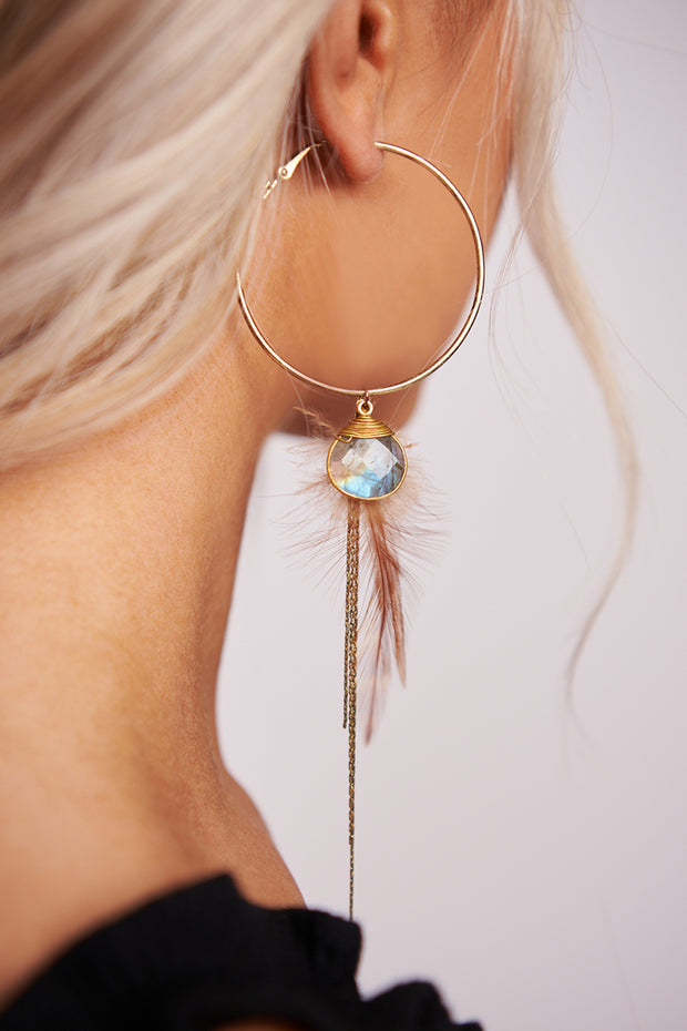 Never Say Never Hoop Earrings (Antique Gold) - NanaMacs