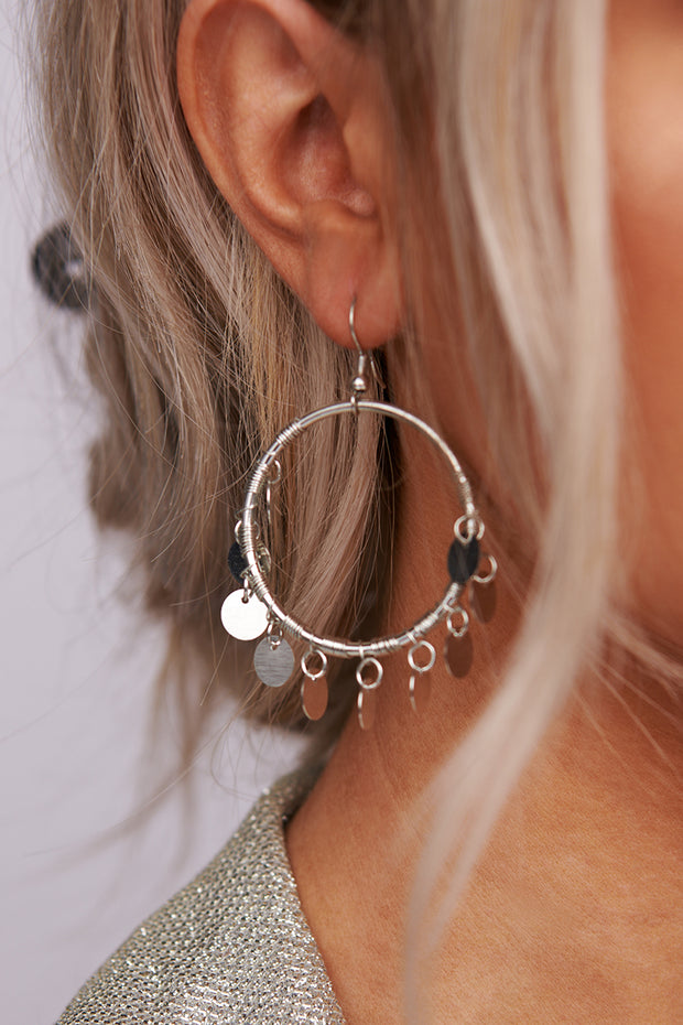 All I Live For Hoop Earrings (Silver) - NanaMacs