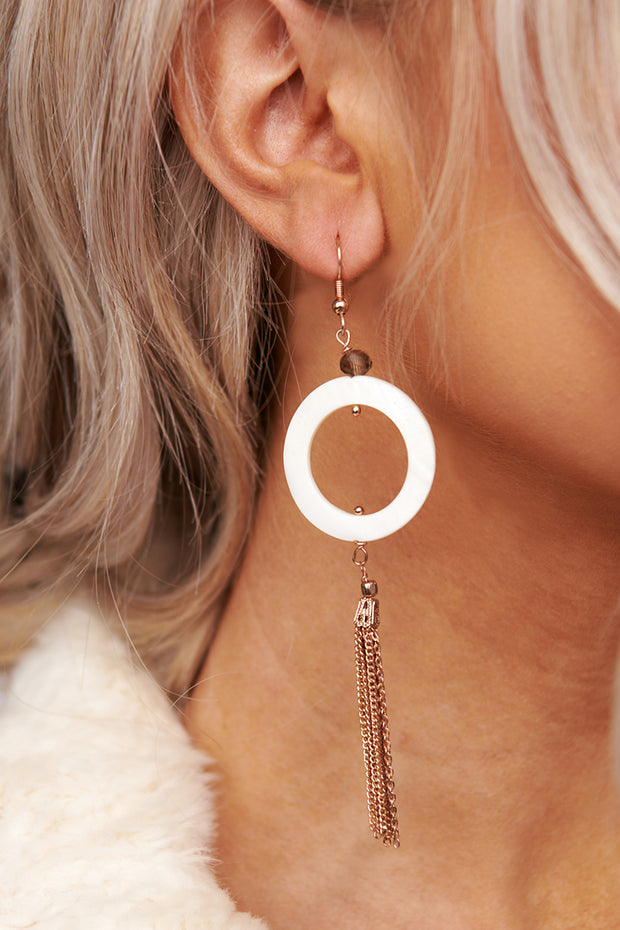 Late Night Date Hoop Earrings (White)