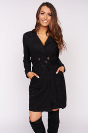 Mornings In Manhattan Faux Suede Trench Coat (Black) - NanaMacs