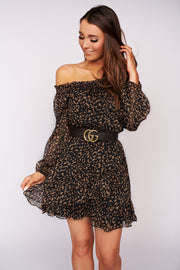 Sweet Miss Chiffon Cheetah Print Dress (Black/Camel)