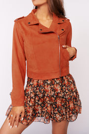 Rocker Chick Zip Up Faux Suede Jacket (Rust) - NanaMacs