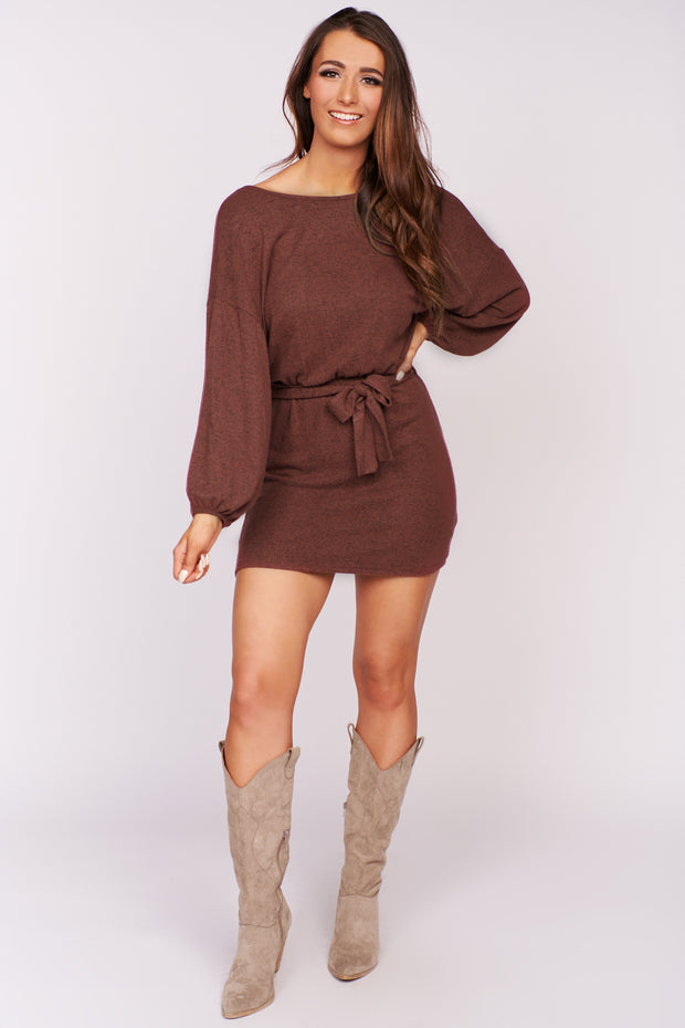 Day Tripper Knit Tie Dress (Burgundy) - NanaMacs