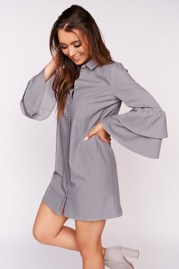 Sweet At Heart Striped Button Up Dress (Grey)