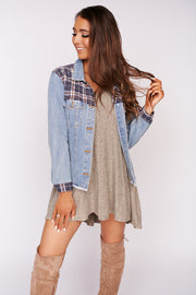 Fine By Me Distressed Denim Jacket (Denim)