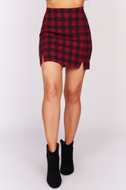 Claim To Fame Plaid Mini Skirt (Red) - NanaMacs