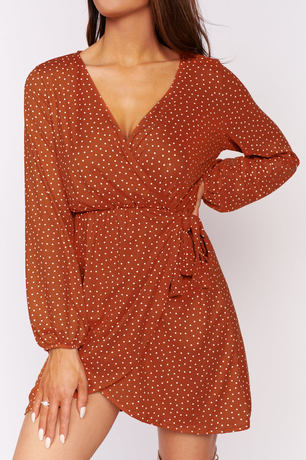 Introduce Myself Polka Dot Dress (Rust) - NanaMacs