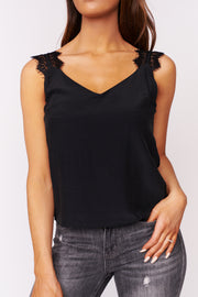 You're Such A Dream Lace Sleeve Top (Black) - NanaMacs