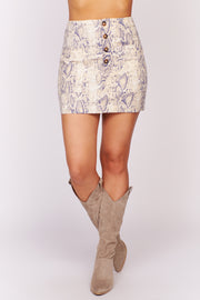 Explain Every Detail Snake Skin Mini Skirt (Taupe/Navy) - NanaMacs