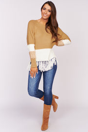 Feel The Energy Fringe Sweater (Taupe)