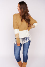 Feel The Energy Fringe Sweater (Taupe) - NanaMacs