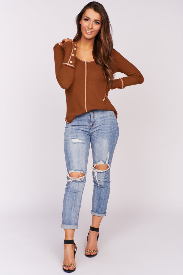 Stay Right Here Stitched Waffle Knit Top (Rust) - NanaMacs