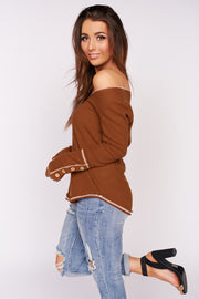 Stay Right Here Stitched Waffle Knit Top (Rust)