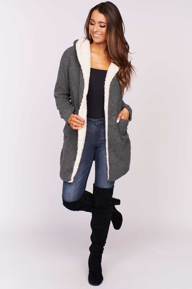 Mama Bear Hooded Cardigan (Grey)