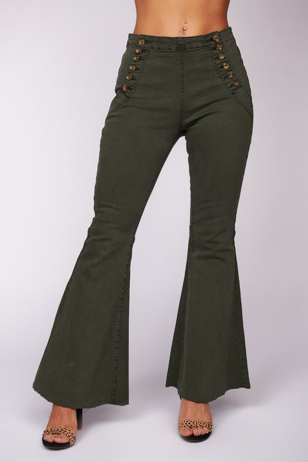 Always On The Move Flared Pants (Olive)