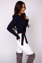 Know For Sure Wrap Top (Navy)