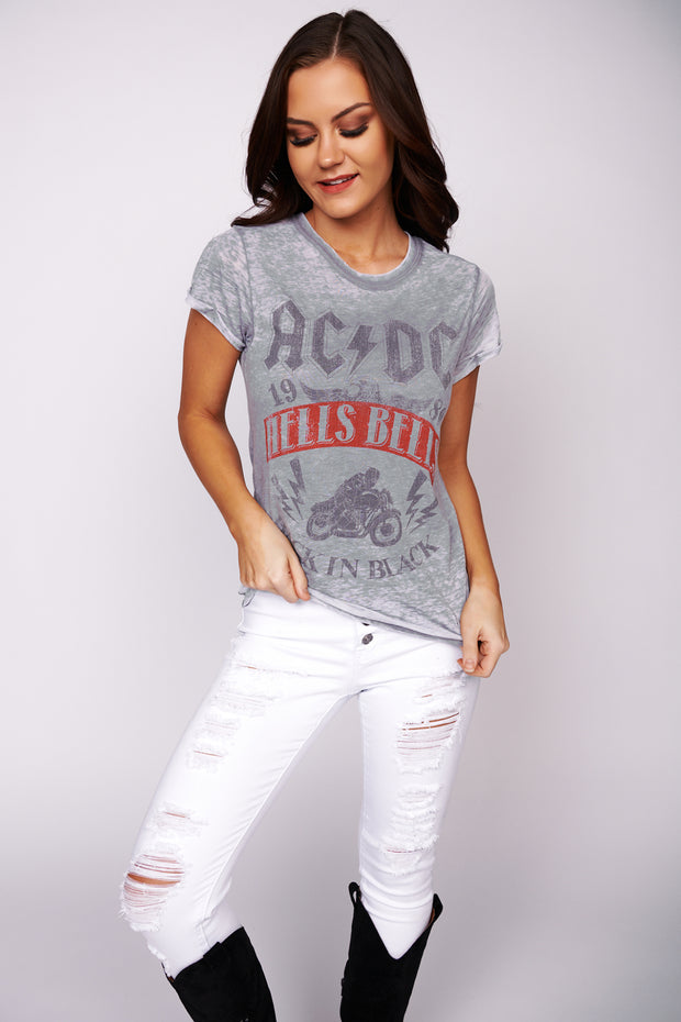 """Back In Black"" AC/DC Graphic Band Tee (Steel Grey)"