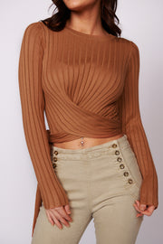 Know For Sure Wrap Top (Camel)