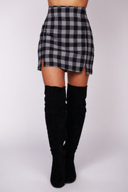 Claim To Fame Plaid Mini Skirt (Grey) - NanaMacs