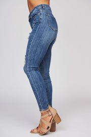 Take A Chance Distressed Jeans (Dark Wash) - NanaMacs