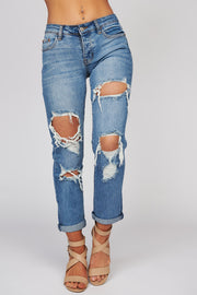 Hooked On You Distressed Button Up Jeans (Medium Wash) - NanaMacs
