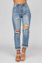 Stay With Me Distressed Jeans (Medium Wash) - NanaMacs