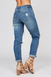 Hooked On You Distressed Button Up Jeans (Dark Wash) - NanaMacs