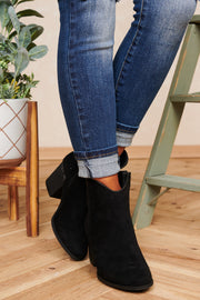 Me And My Girls Suede Sparkle Booties (Black) - NanaMacs