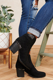 Me And My Girls Suede Sparkle Booties (Black)
