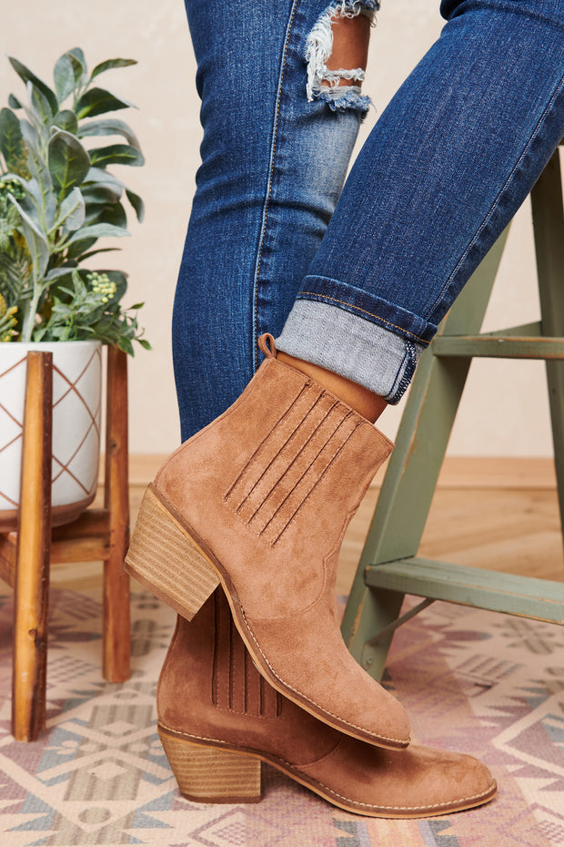 Love Or Hate Me Faux Suede Booties (Almond)