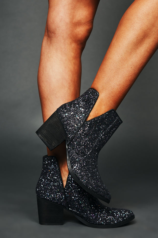 Not Thinking Cutout Sparkle Booties (Multi)