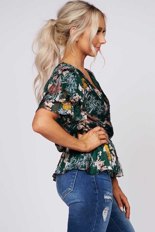 It's A New Day Floral Peplum Top (Hunter Green)