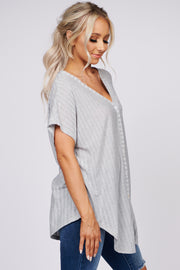Nadine Textured Button Down Top (Grey) - NanaMacs