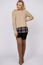 Reason For Happiness Cable Knit Sweater (Taupe)