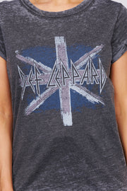 """Def Leppard"" Distressed Graphic Band Tee (Black)"