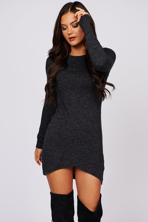 Cooler Days Ahead Long Sleeve Knit Dress (Black) - NanaMacs