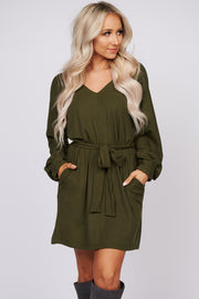 Good Intentions Ribbed Knit Dress (Olive)