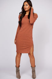 Happy Heart Off The Shoulder Sweater Dress (Cherry) - NanaMacs