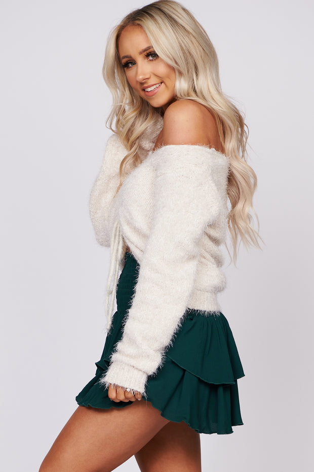 Relaxing Weekend Fuzzy Chenille Sweater (Cream) - NanaMacs