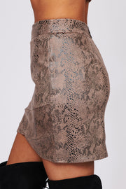 Always Remember You Snake Skin Print Mini Skirt (Mocha) - NanaMacs