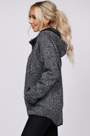 A New Start Marled Knit Hoodie (Black) - NanaMacs