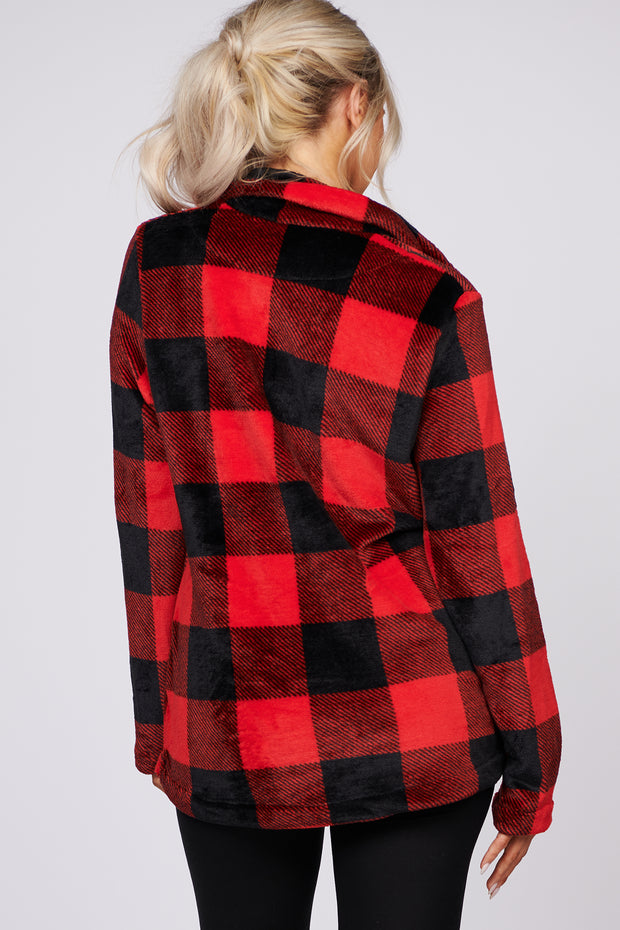 Small Town Living Buffalo Check Sherpa Pullover (Red/Black) - NanaMacs