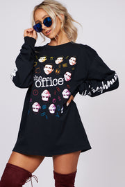 """The Office"" Quotes Long Sleeve Graphic Top (Black)"