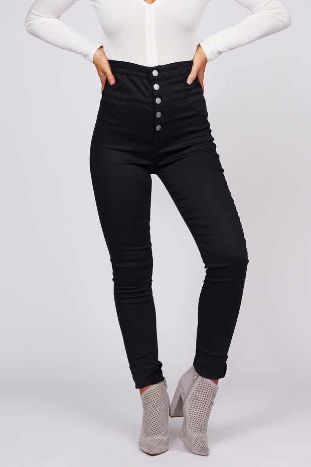 Give It Your All High Waisted Fitted Pants (Black) - NanaMacs