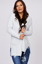 Cozy State Of Mind Open Front Cardigan (Light Grey)