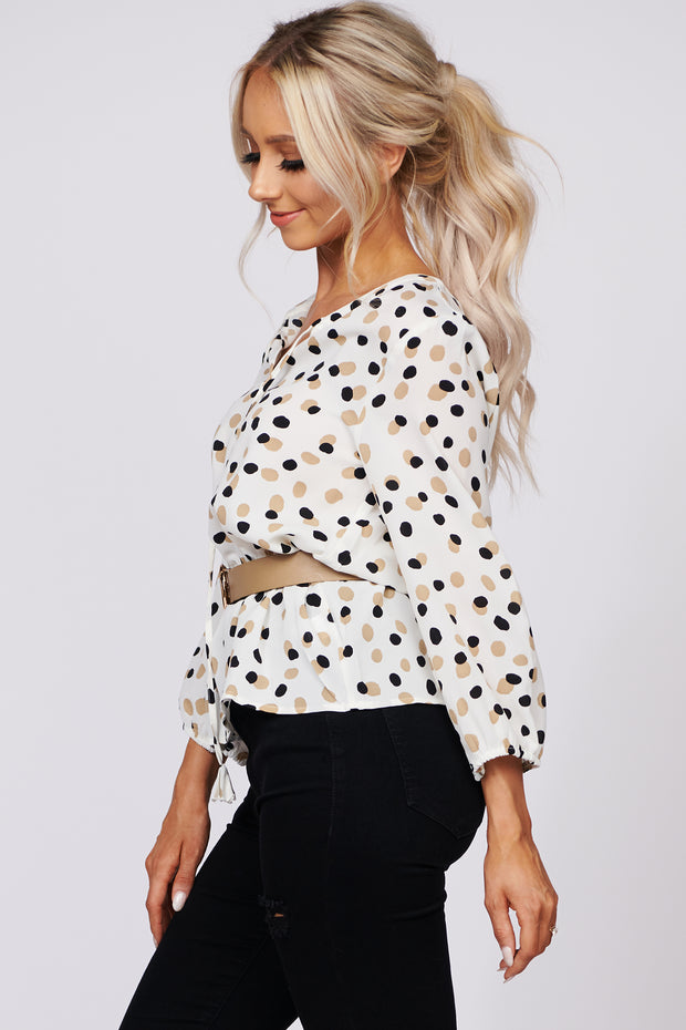 Chic Confidence Polka Dot Peplum Top (Ivory)