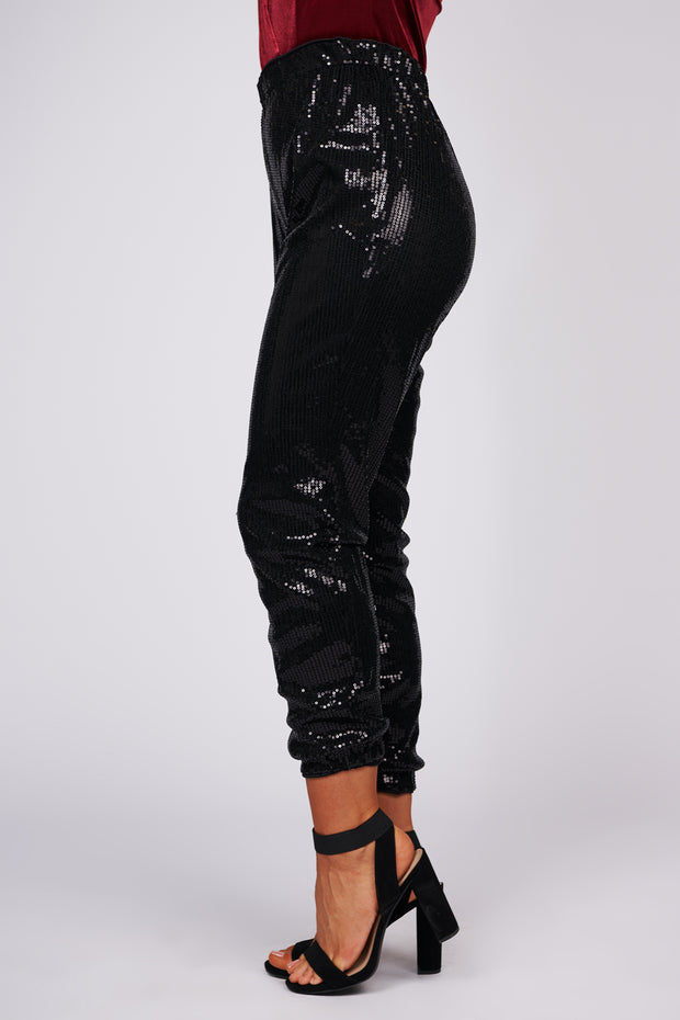 Call Me Up High Waisted Sequin Pants (Black Sequin) - NanaMacs